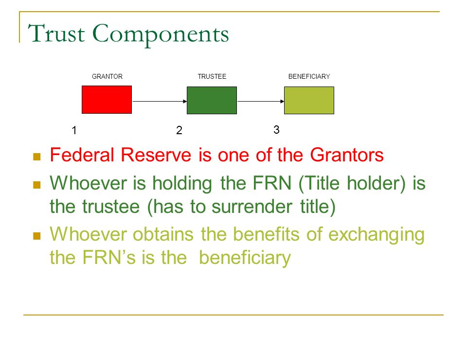 Trust Components Federal Reserve is one of the Grantors
