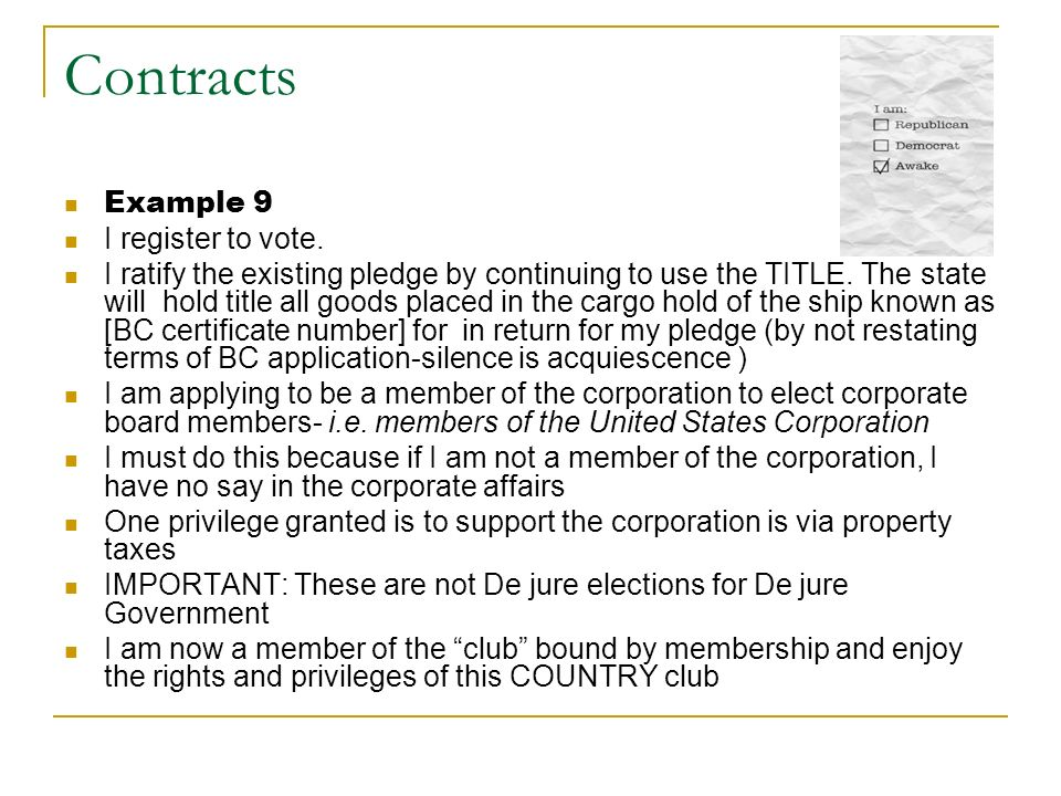 Contracts Example 9 I register to vote.
