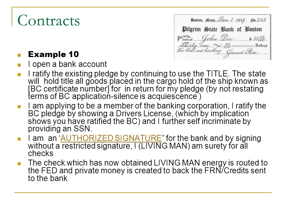 Contracts Example 10 I open a bank account