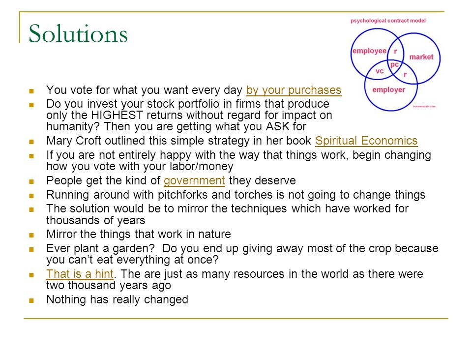 Solutions You vote for what you want every day by your purchases