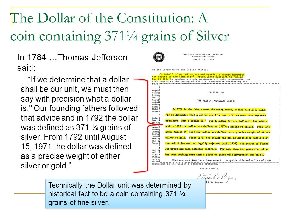 The Dollar of the Constitution: A coin containing 371¼ grains of Silver