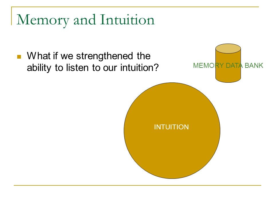 Memory and Intuition MEMORY DATA BANK. What if we strengthened the ability to listen to our intuition