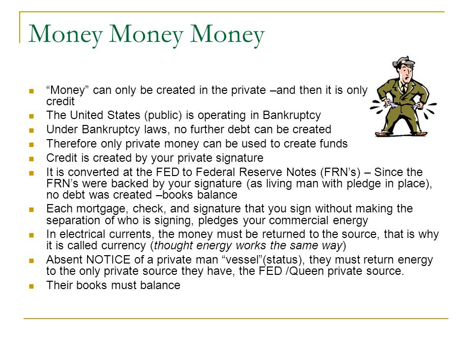 Money Money Money Money can only be created in the private –and then it is only credit.