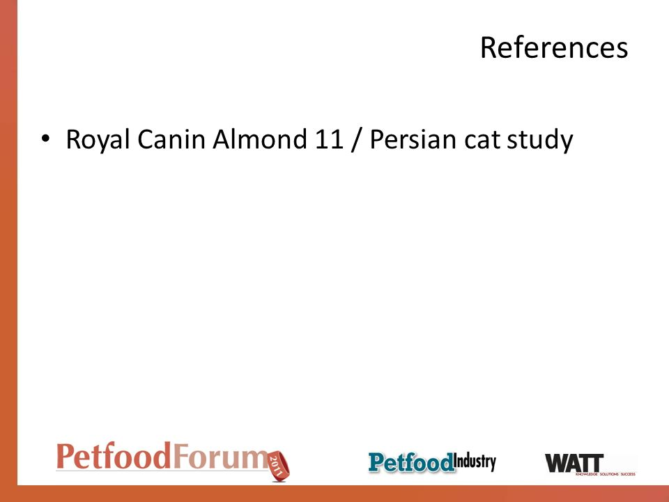 References Royal Canin Almond 11 / Persian cat study