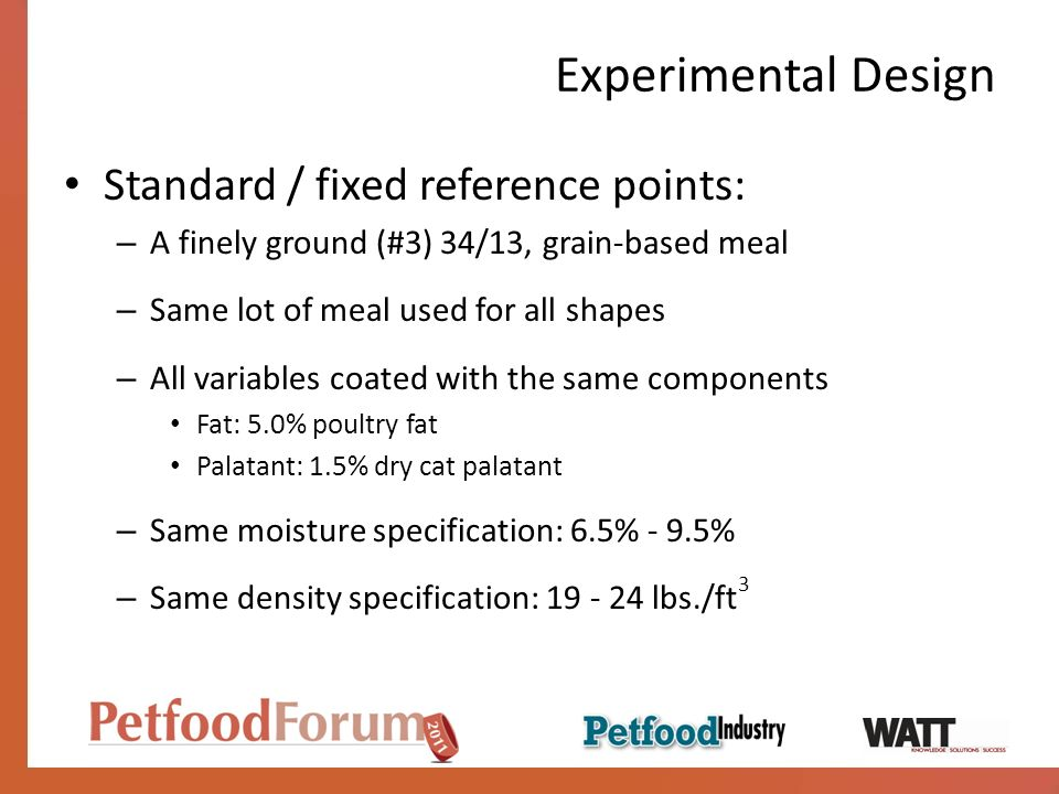 Experimental Design Standard / fixed reference points: