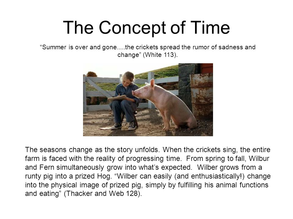 The Concept of Time Summer is over and gone….the crickets spread the rumor of sadness and change (White 113).