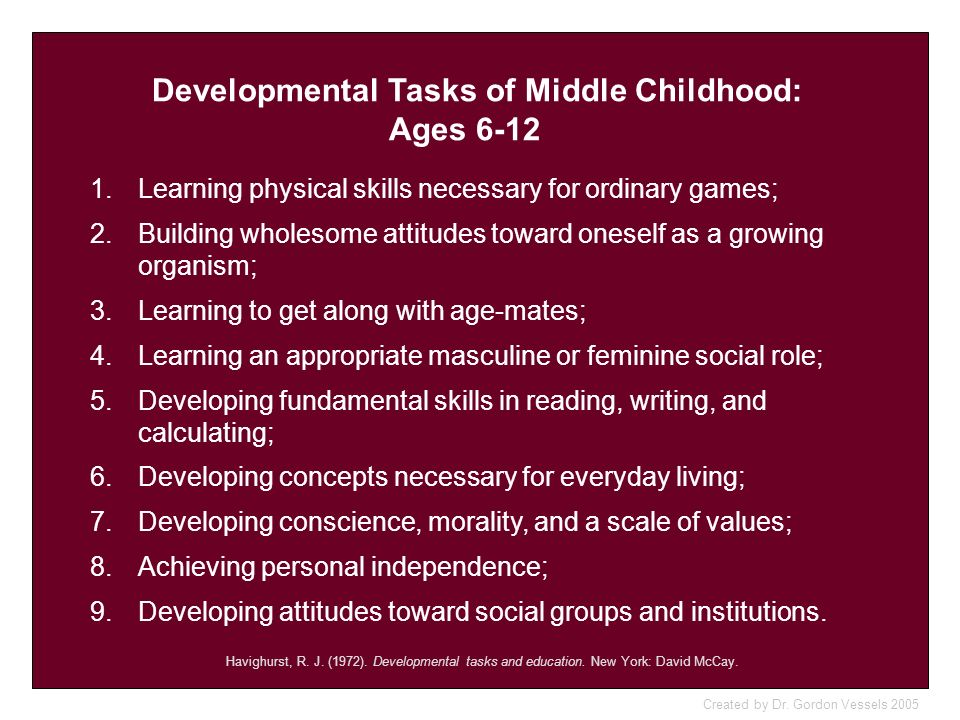 Developmental Tasks of Middle Childhood: Ages 6-12