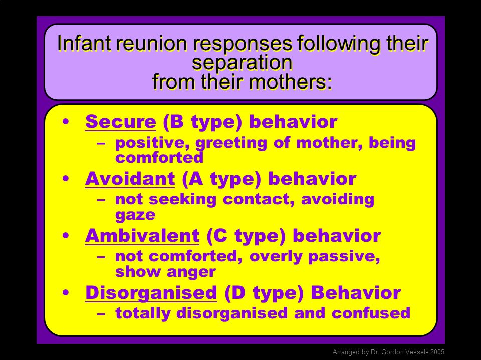 Infant reunion responses following their separation from their mothers: