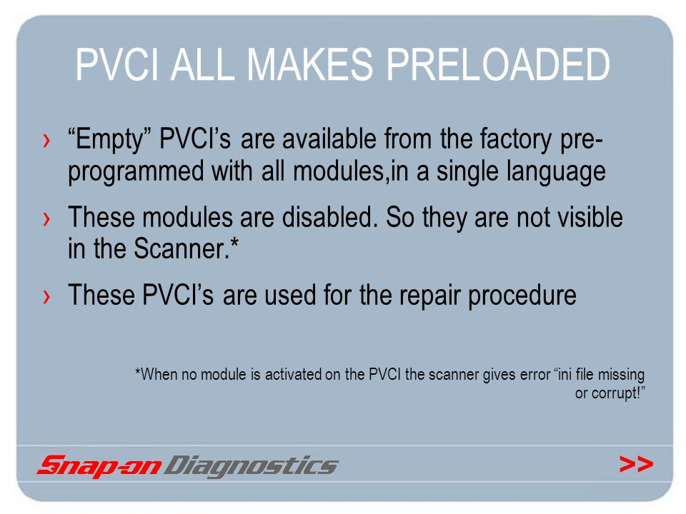 PVCI ALL MAKES PRELOADED