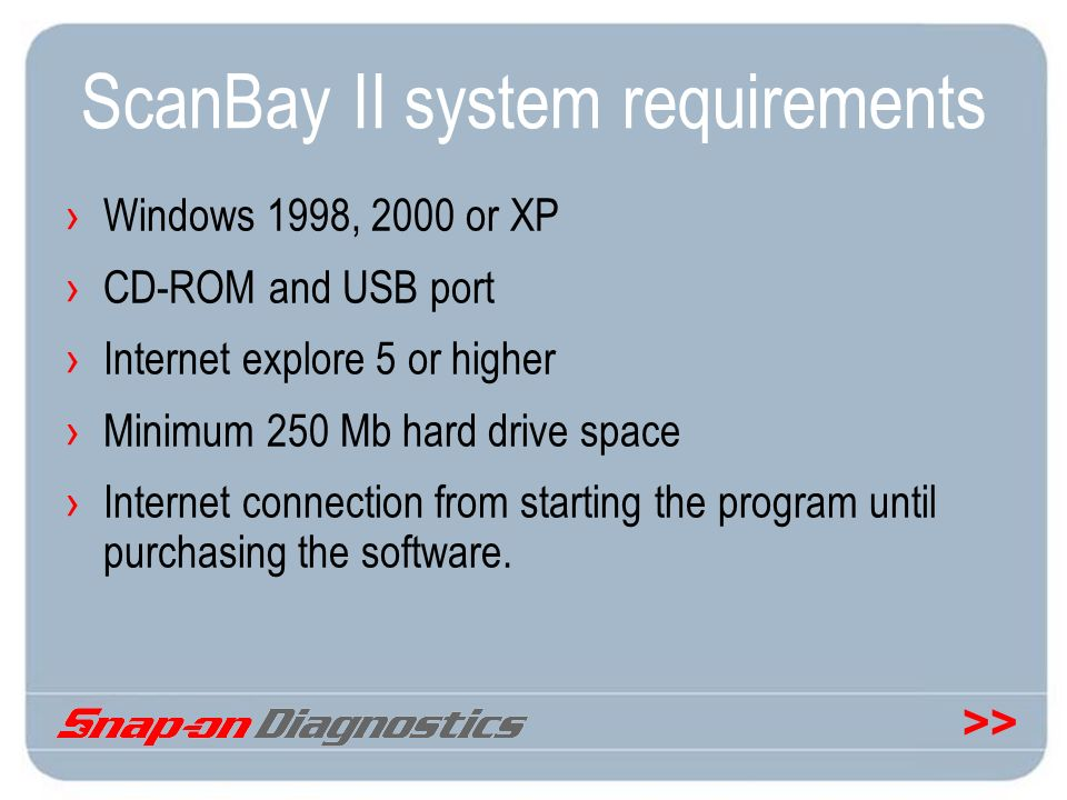 ScanBay II system requirements