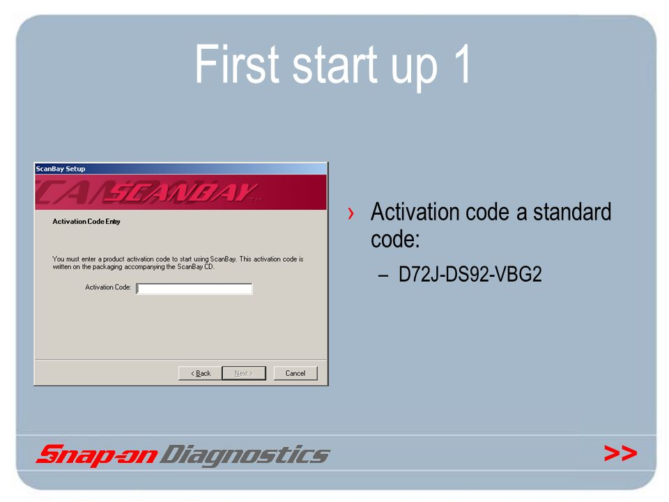 First start up 1 Activation code a standard code: D72J-DS92-VBG2