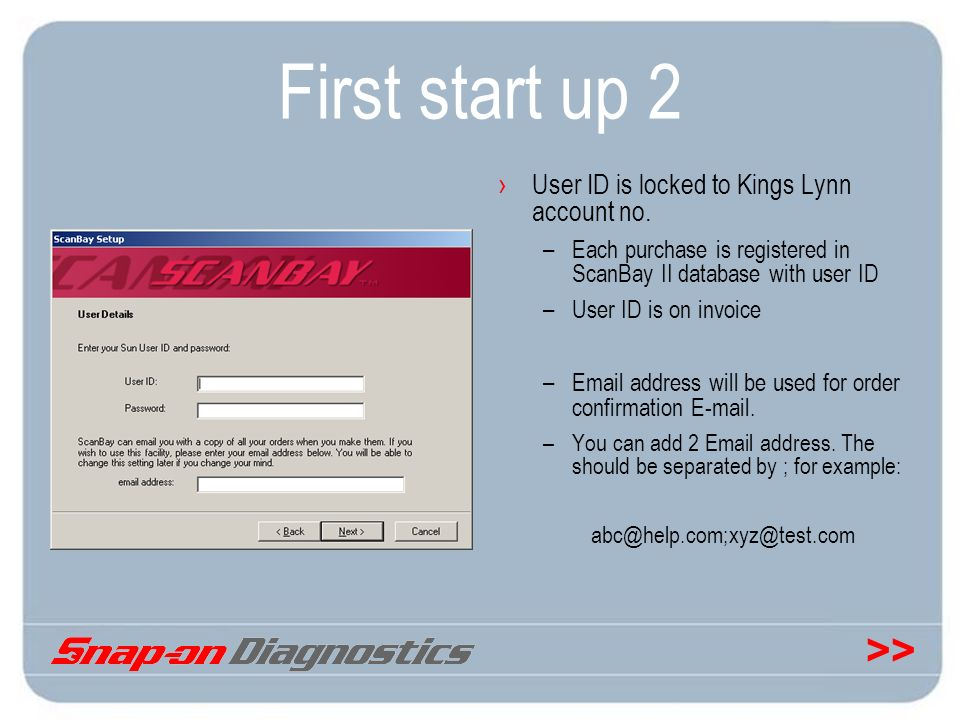 First start up 2 User ID is locked to Kings Lynn account no.