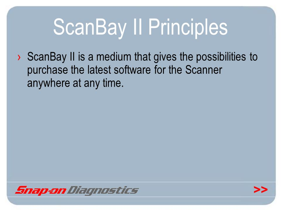 ScanBay II Principles ScanBay II is a medium that gives the possibilities to purchase the latest software for the Scanner anywhere at any time.