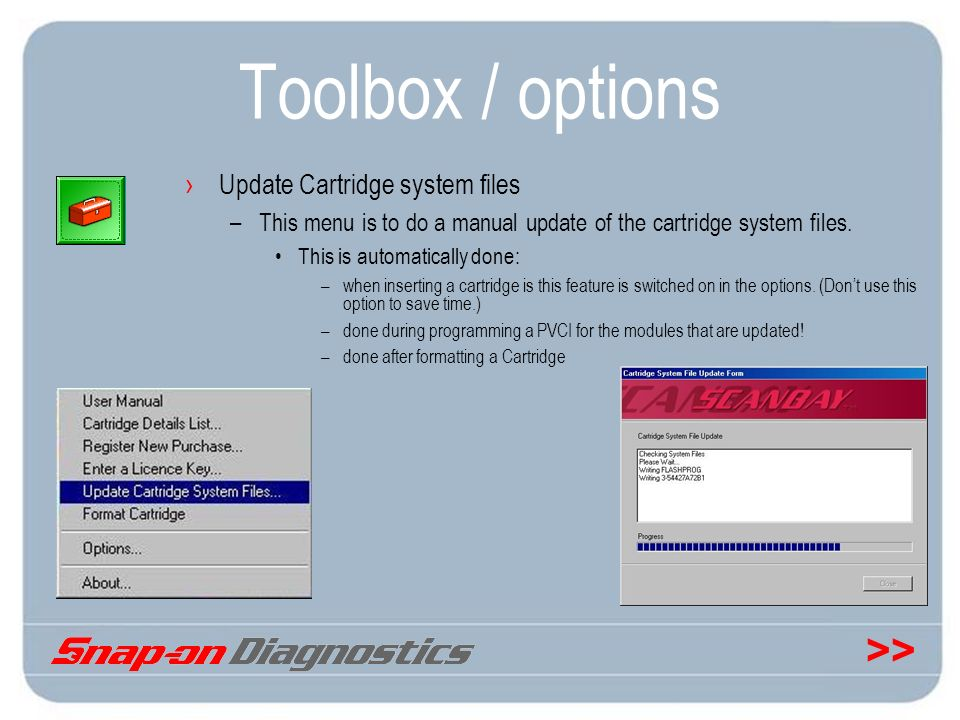 Toolbox / options Update Cartridge system files