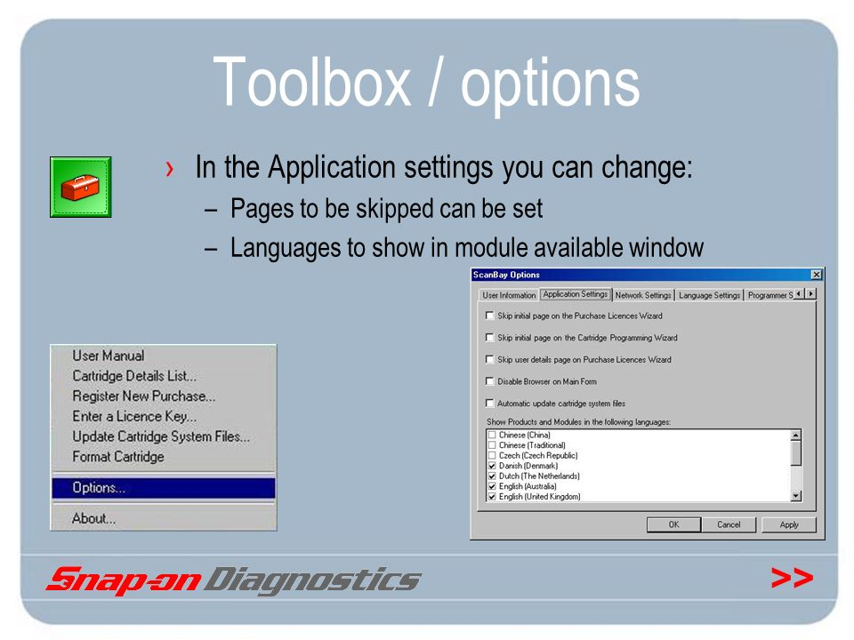 Toolbox / options In the Application settings you can change: