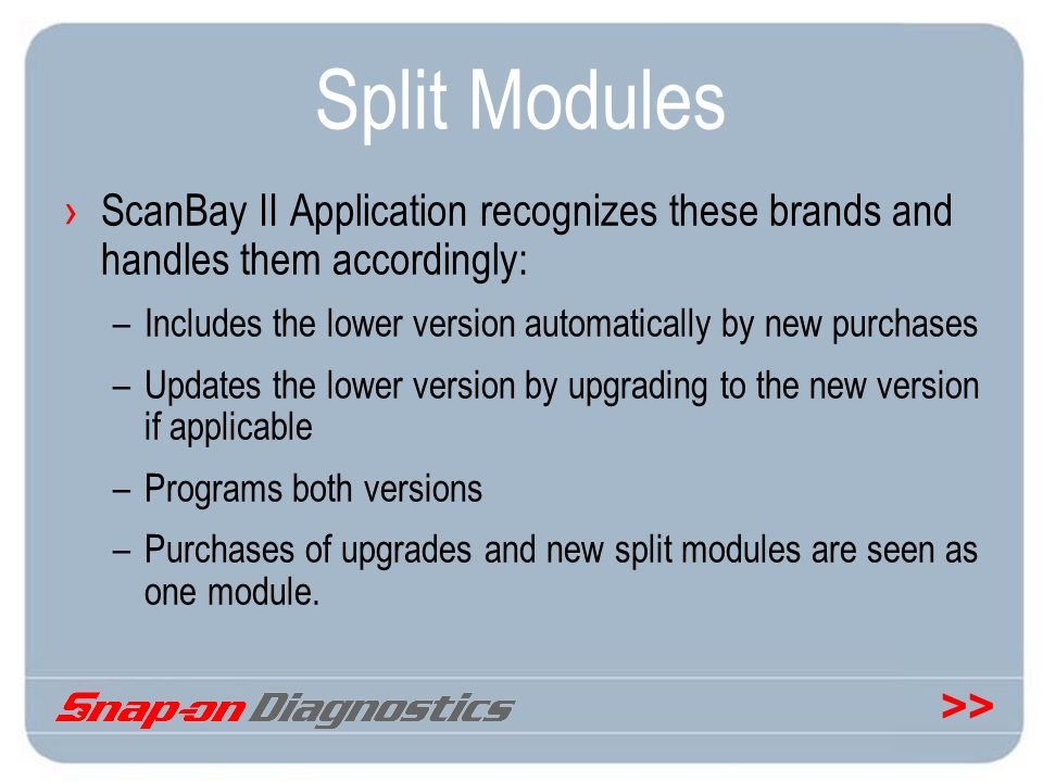 Split Modules ScanBay II Application recognizes these brands and handles them accordingly: Includes the lower version automatically by new purchases.