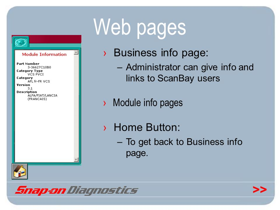 Web pages Business info page: Home Button: Module info pages