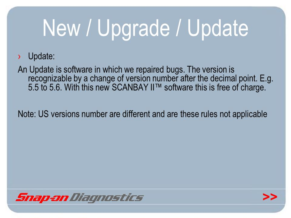 New / Upgrade / Update Update: