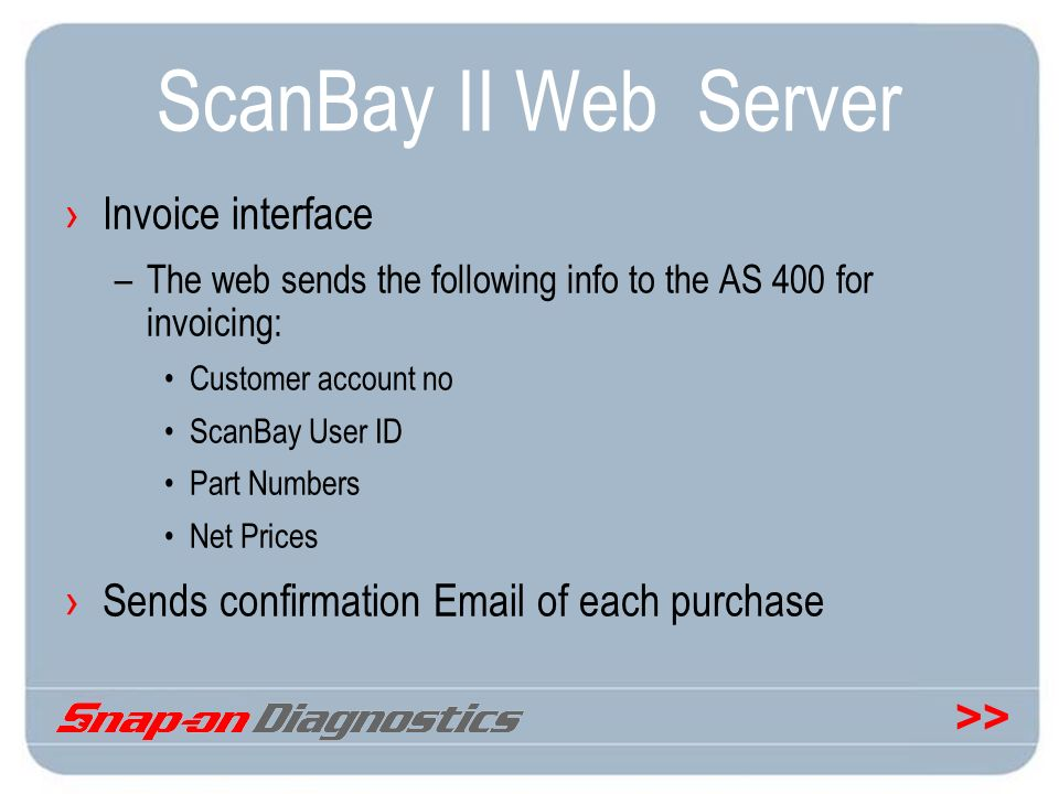 ScanBay II Web Server Invoice interface
