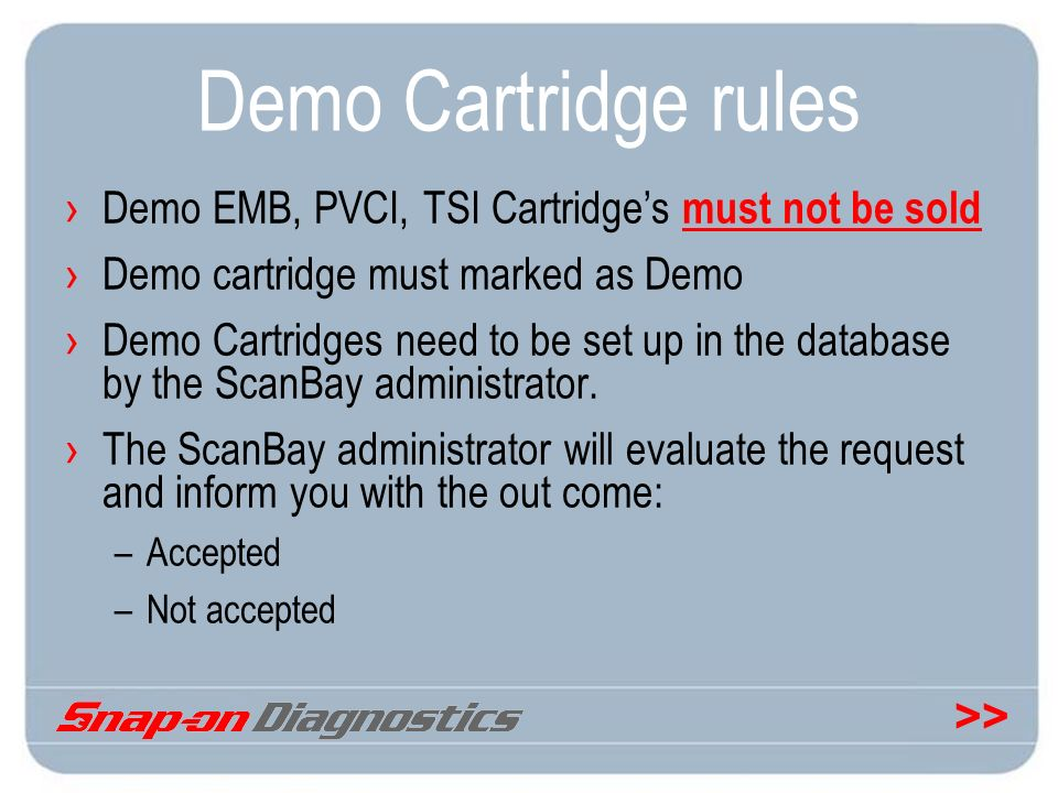 Demo Cartridge rules Demo EMB, PVCI, TSI Cartridge's must not be sold