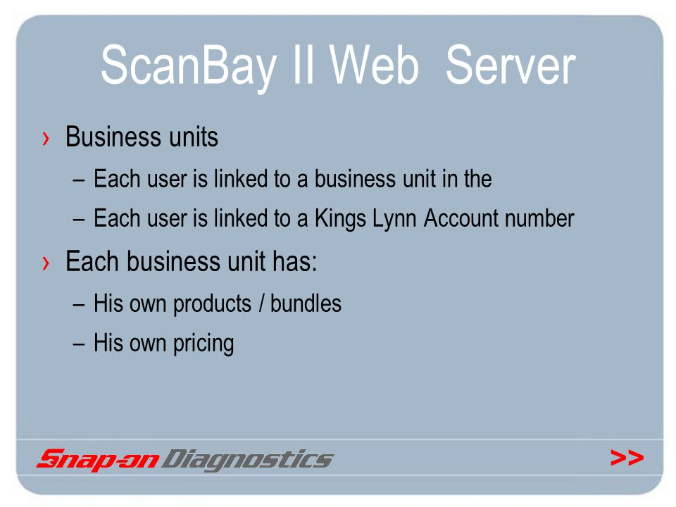 ScanBay II Web Server Business units Each business unit has: