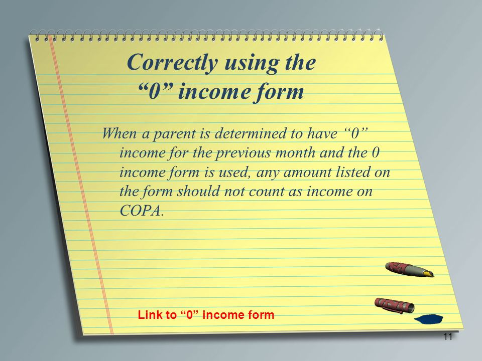 Correctly using the 0 income form