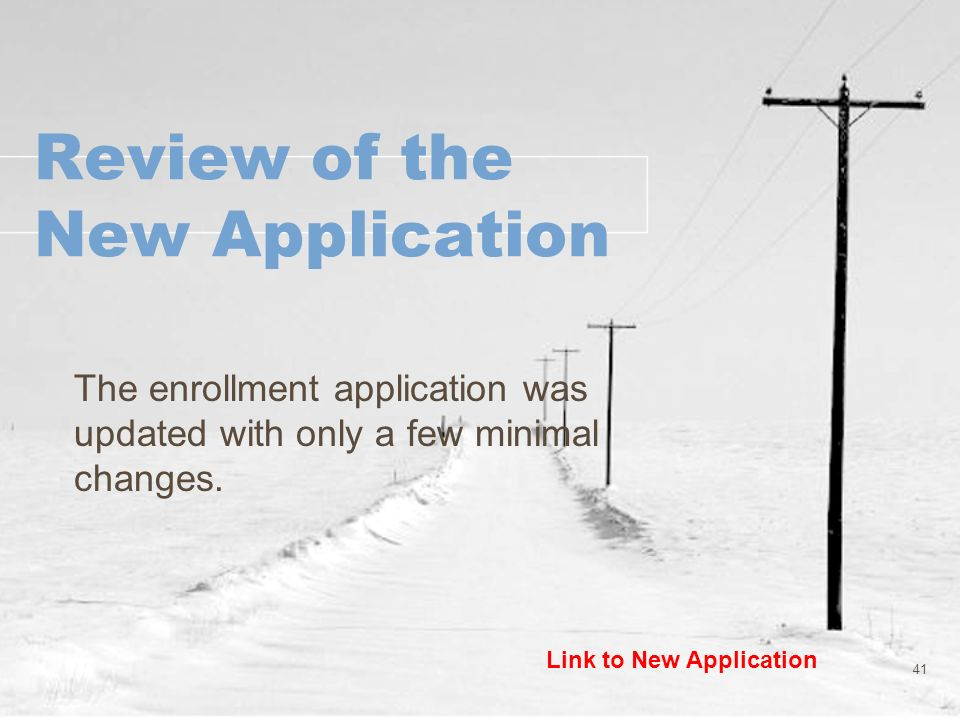 Review of the New Application