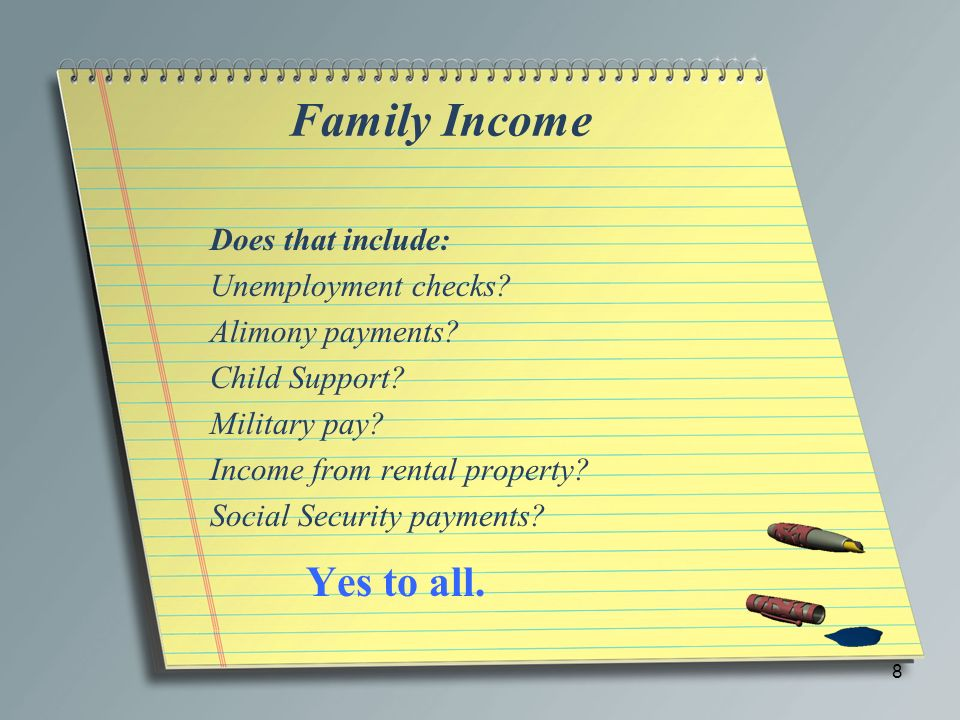 Family Income Yes to all. Does that include: Unemployment checks