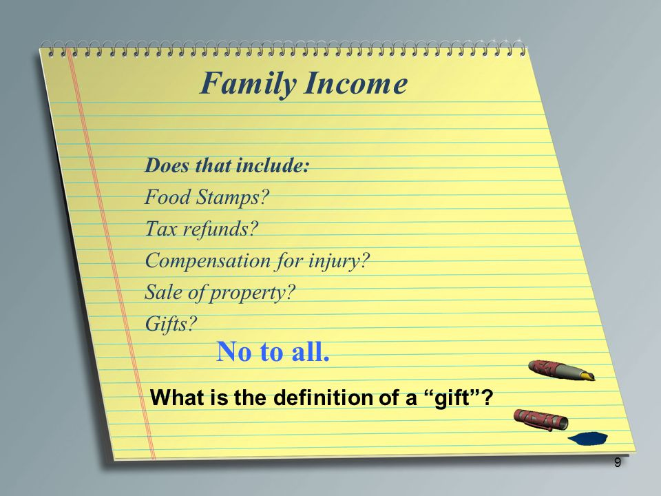 Family Income No to all. Does that include: Food Stamps Tax refunds
