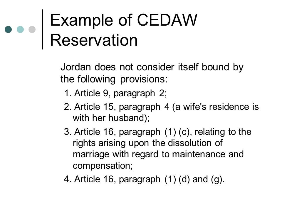 Example of CEDAW Reservation