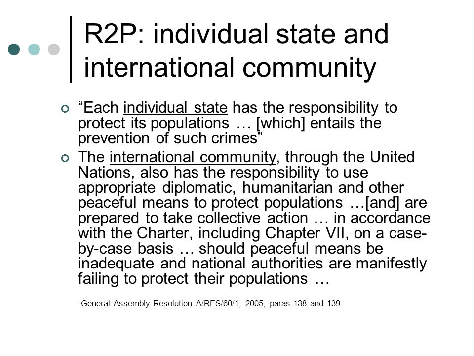 R2P: individual state and international community