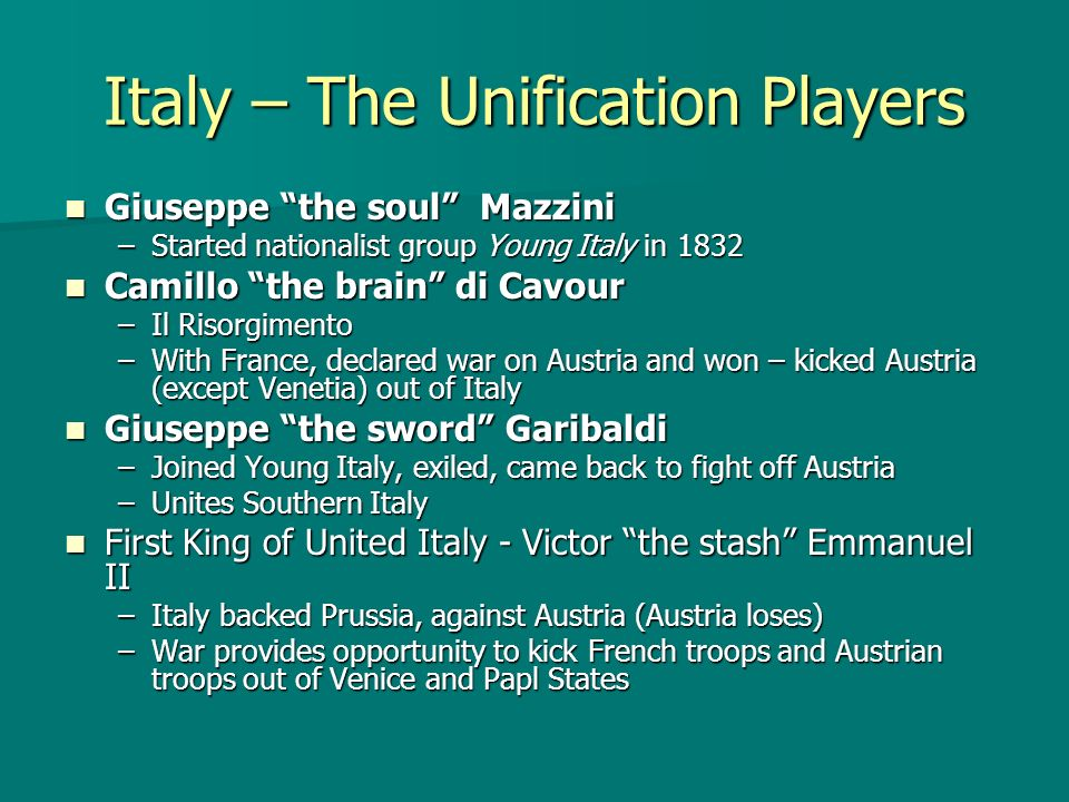 Italy – The Unification Players