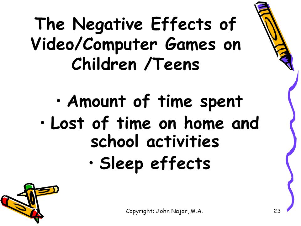 The Negative Effects of Video/Computer Games on Children /Teens