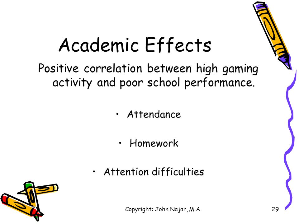 Academic Effects Positive correlation between high gaming activity and poor school performance. Attendance.