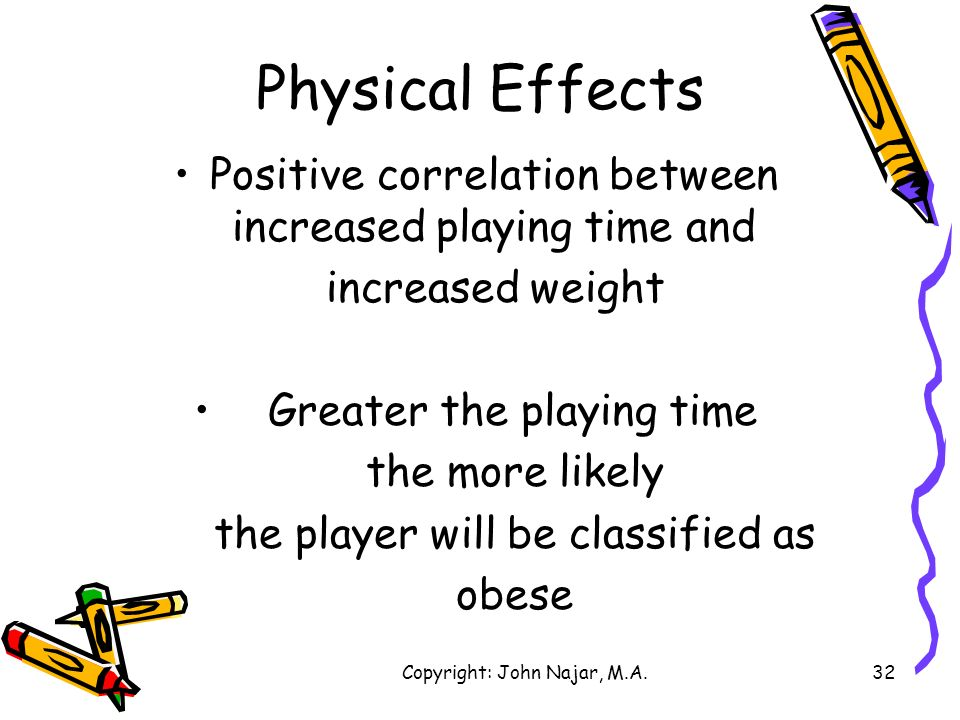 Physical Effects Positive correlation between increased playing time and. increased weight. Greater the playing time.