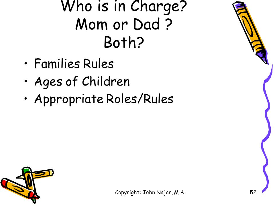 Who is in Charge Mom or Dad Both
