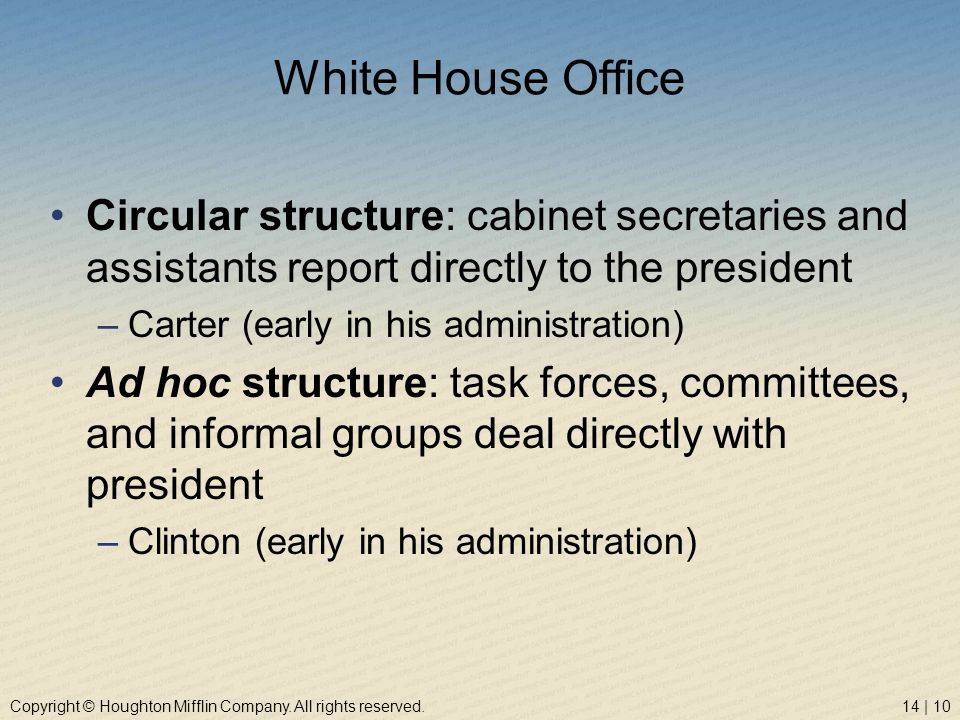 White House Office Circular structure: cabinet secretaries and assistants report directly to the president.