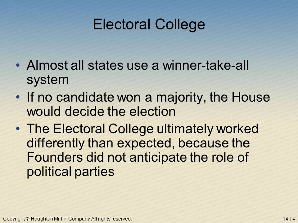 Electoral College Almost all states use a winner-take-all system