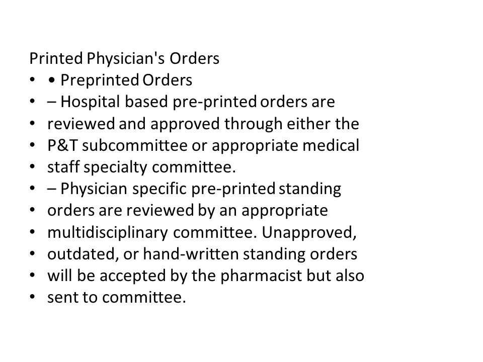 Printed Physician s Orders