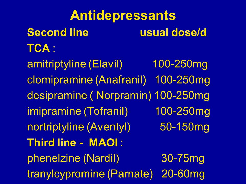 Antidepressants Second line usual dose/d TCA :