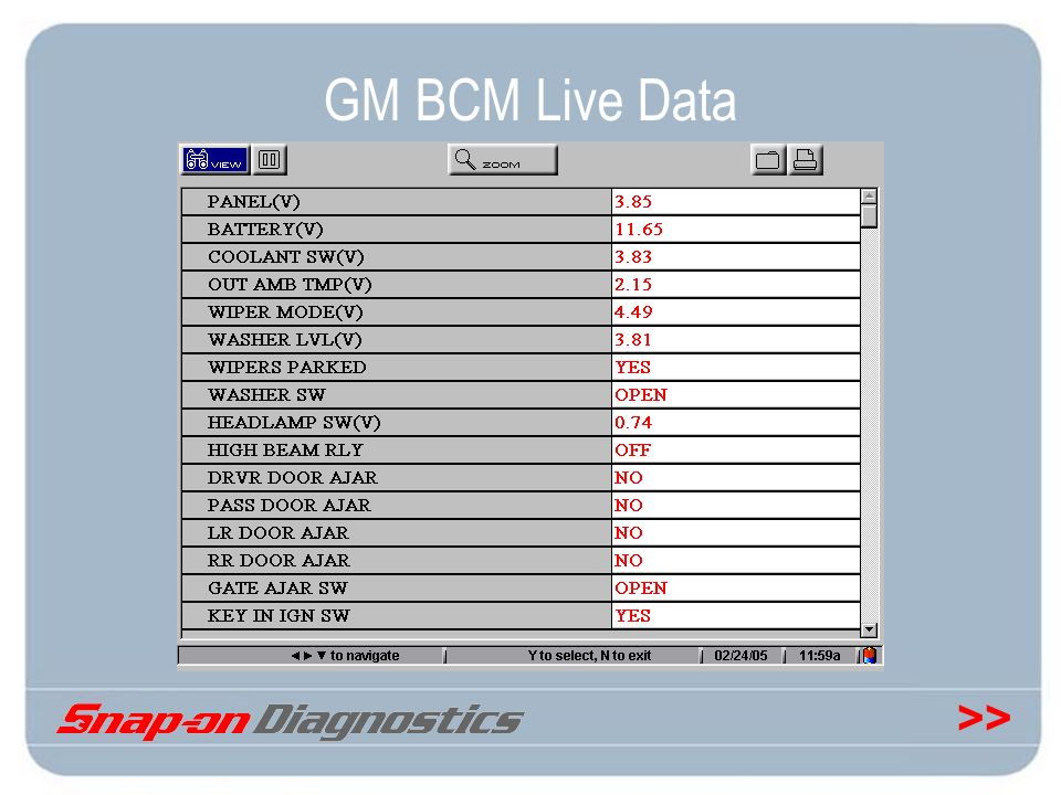 GM BCM Live Data