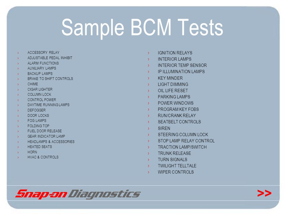 Sample BCM Tests IGNITION RELAYS INTERIOR LAMPS INTERIOR TEMP SENSOR
