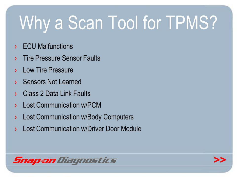 Why a Scan Tool for TPMS ECU Malfunctions Tire Pressure Sensor Faults