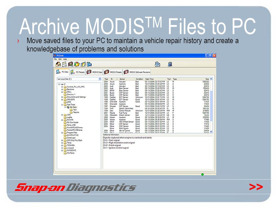 Archive MODISTM Files to PC