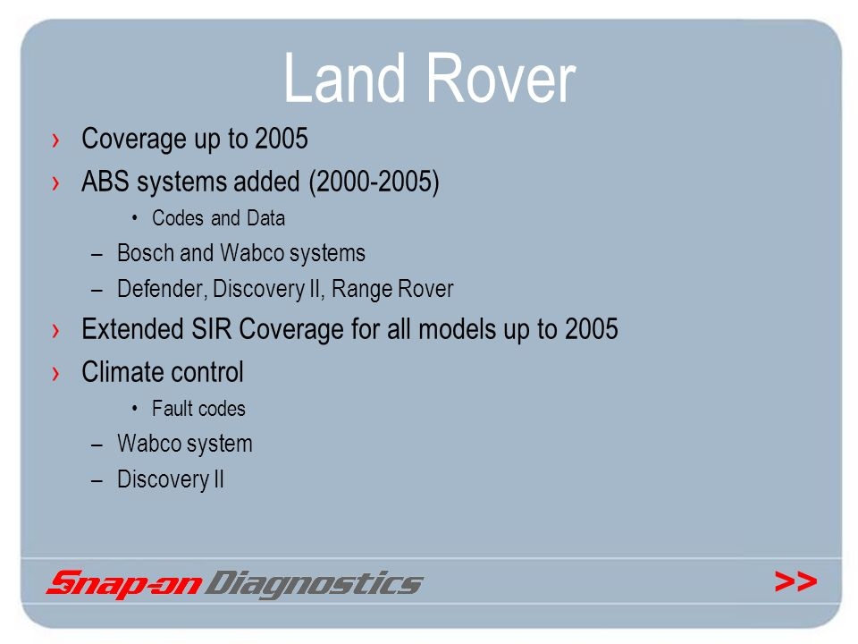 Land Rover Coverage up to 2005 ABS systems added (2000-2005)