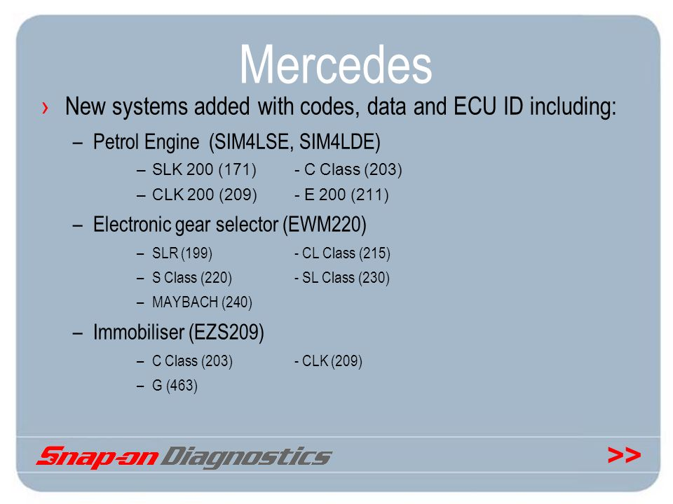 Mercedes New systems added with codes, data and ECU ID including: