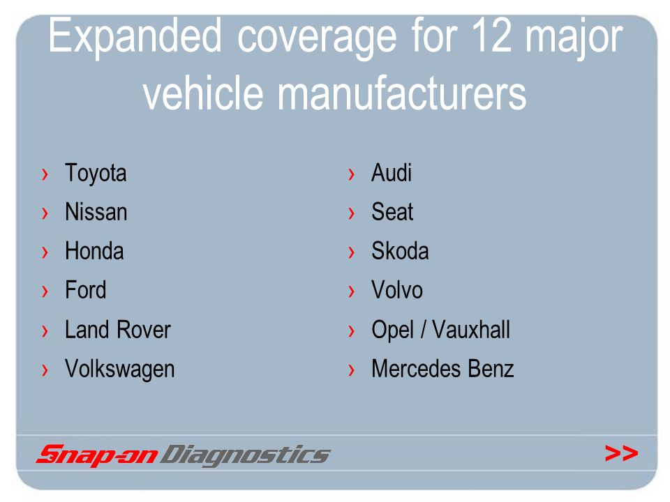 Expanded coverage for 12 major vehicle manufacturers