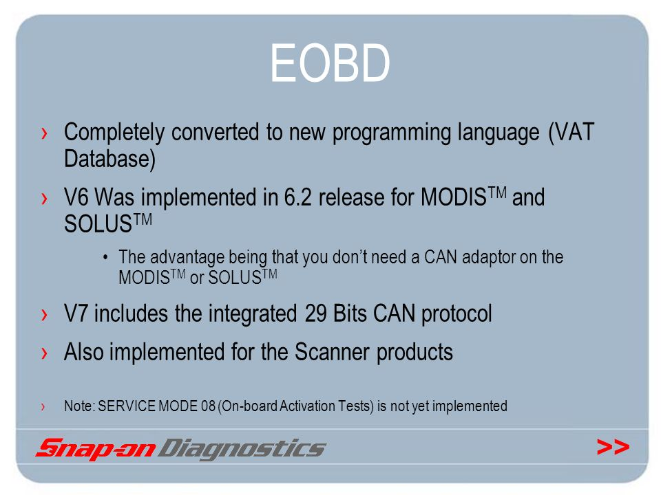 EOBD Completely converted to new programming language (VAT Database)