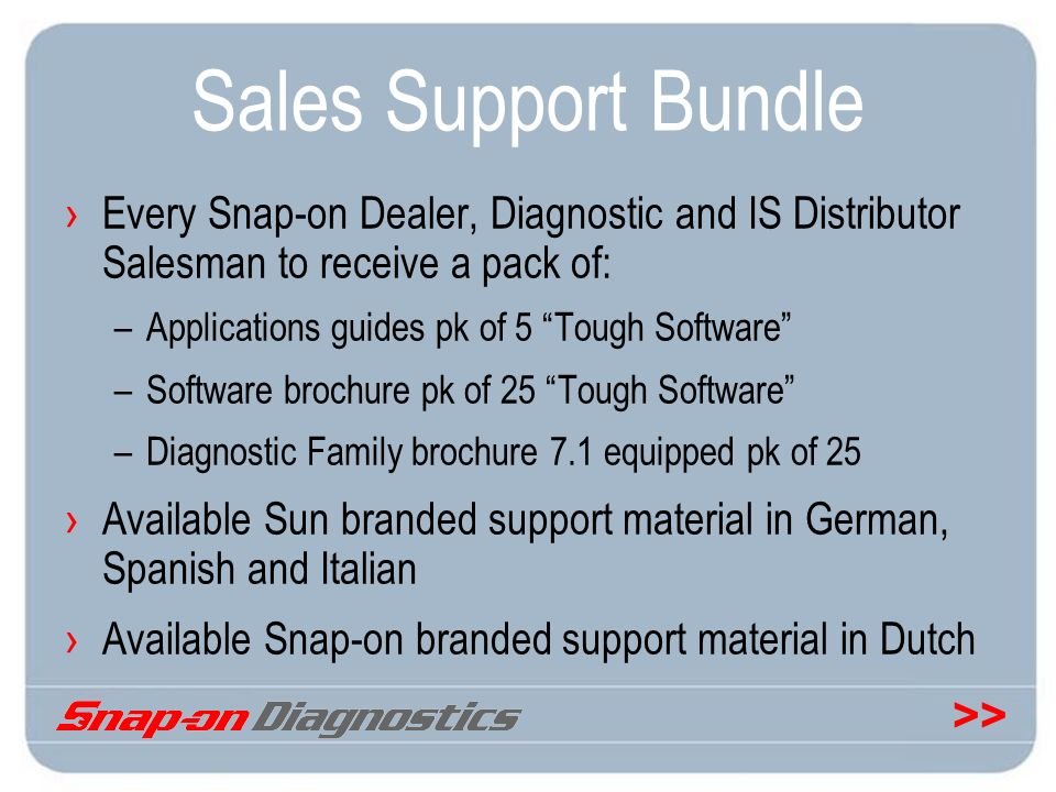 Sales Support Bundle Every Snap-on Dealer, Diagnostic and IS Distributor Salesman to receive a pack of: