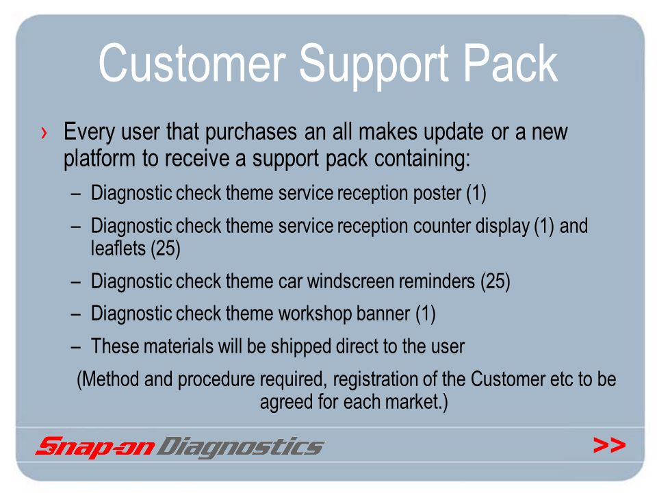 Customer Support Pack Every user that purchases an all makes update or a new platform to receive a support pack containing: